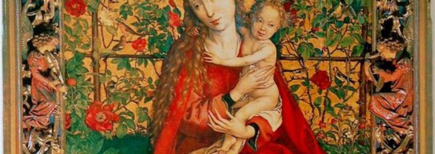 Martin Schongauer Madonna in Rose Garden - século 15